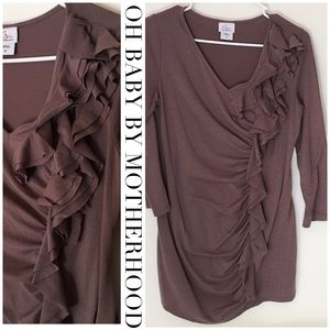 Oh Baby 3/4 sleeve mauve ruched ruffle V blouse M